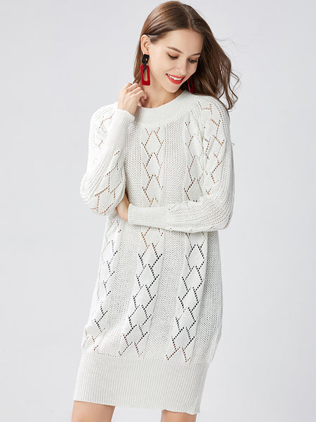 Hollow Out O-Neck Long Sleeve Sweater Dress