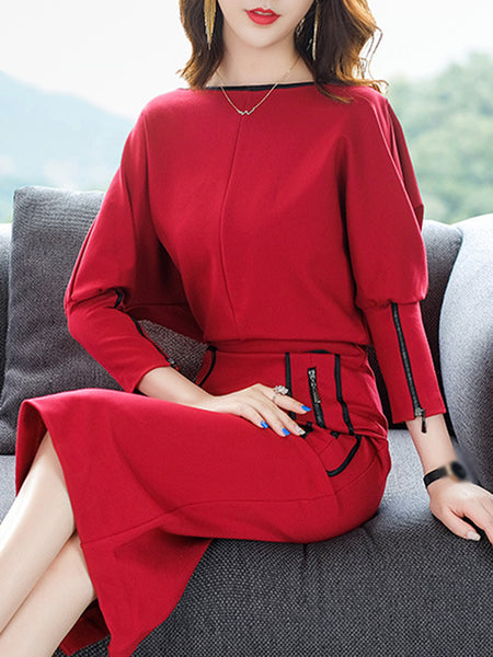 Zipper Boat Neck Long Sleeve Bodycon Dress