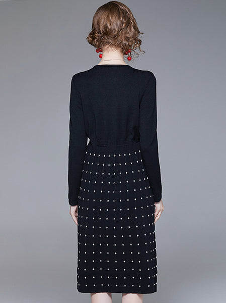 Polka Dot V-Neck Long Sleeve Lacing A-Line Dress