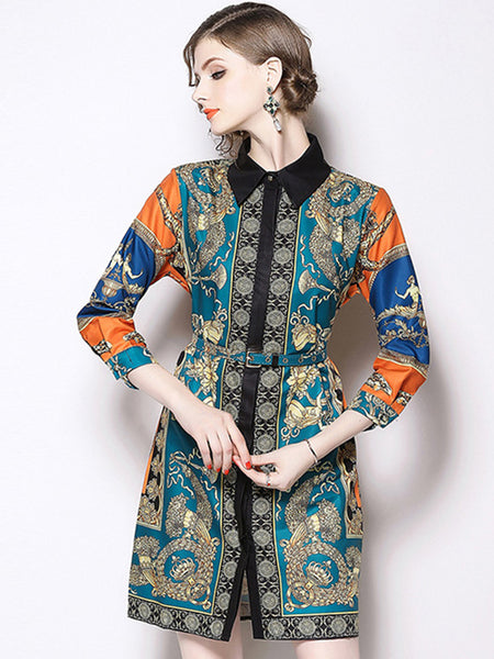 Belted Turn-Down Collar Long Sleeve Print A-Line Dress