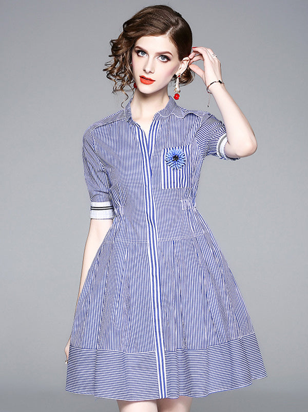 Stripe V-Neck Short Sleeve Elastic Waist Skater Dress
