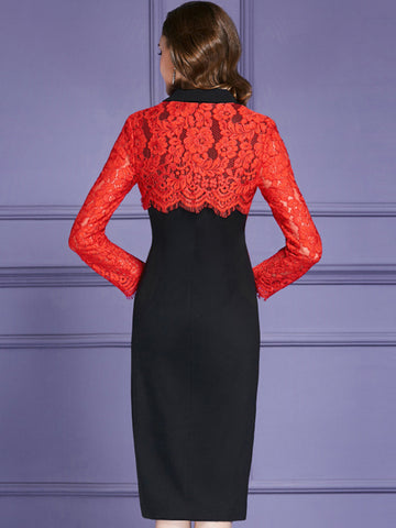 Double-Breasted Lace Stitching Long Sleeve Bodycon Dress
