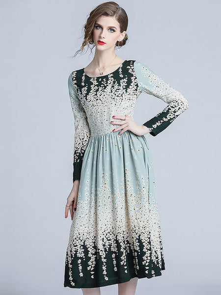Vintage Gradient O-Neck Long Sleeve Floral Dress