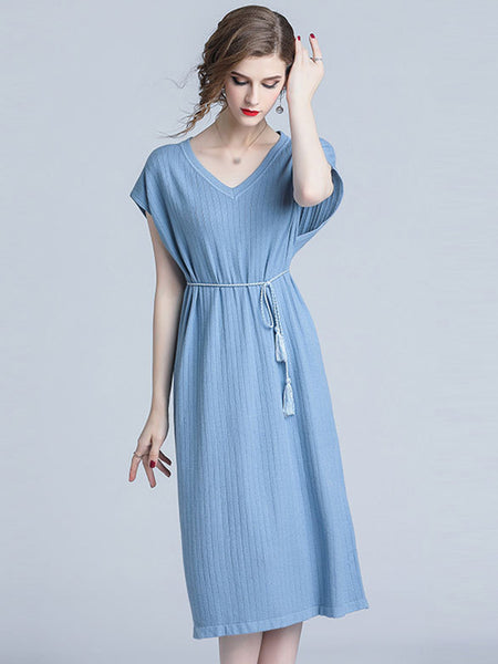 Batwing Sleeve V-Neck Pure Color Lacing A-Line Dress