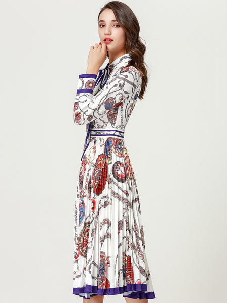 Pleated Long Sleeve Lacing Print Skater Dress