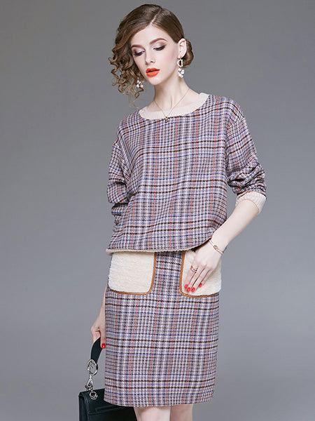 Plaid O-Neck Long Sleeve Pocket Two Piece Bodycon Dress