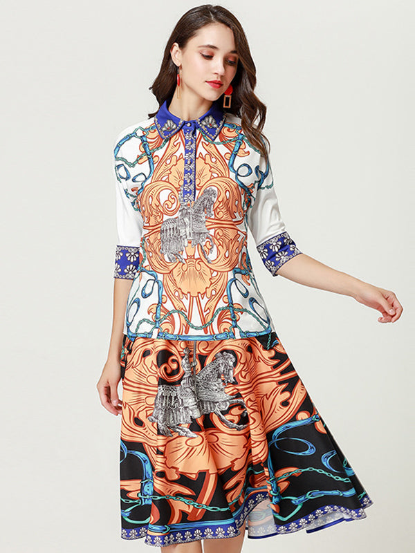 Turn-Down Collar Half Sleeve Print Skater Dress