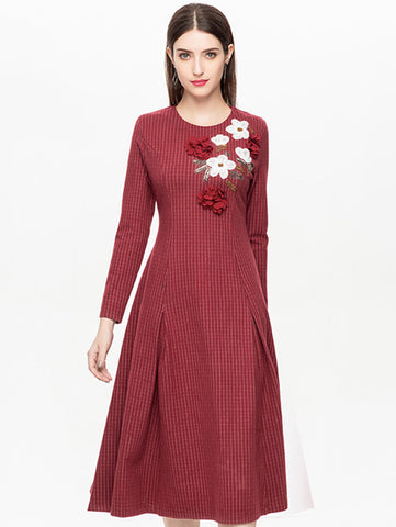 Beaded O-Neck Long Sleeve Plaid A-Line Dress