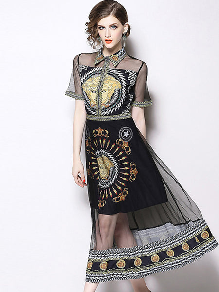 Mesh Stitching Turn-Down Collar Print A-Line Dress