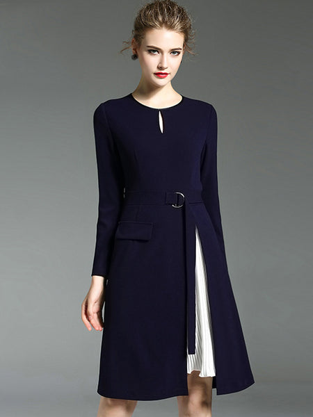 Stitching O-Neck Long Sleeve Metal Button Shift Dress