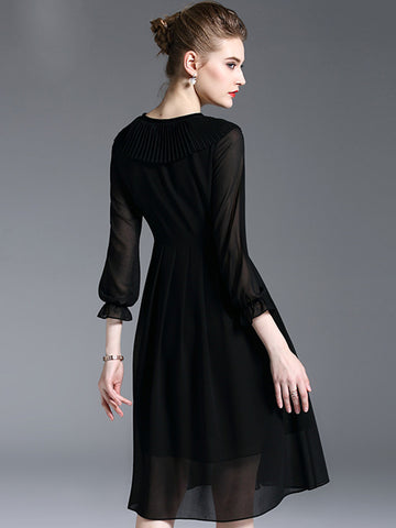 Black Chiffon O-Neck 3/4 Sleeve A-Line Dress