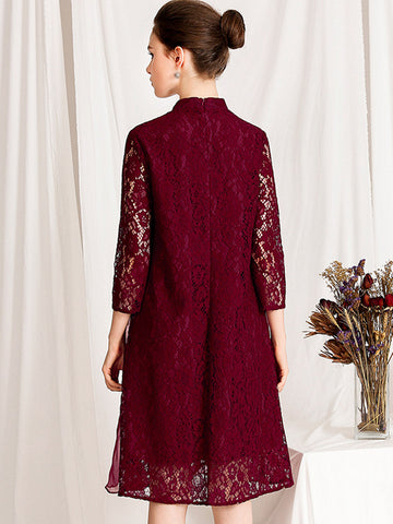 3/4 Sleeve Stand Collar Lace Embroidery Shift Dress