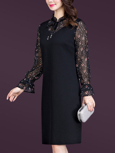 Chiffon Stitching Long Sleeve Print Bodycon Dress
