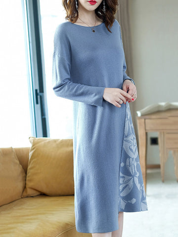 Stitching O-Neck Long Sleeve Print Sweater Dress