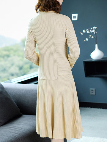 Pure Color Two Piece Stand Collar Long Sleeve Sweater Dress