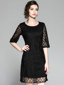 Embroidery O-Neck 3/4 Sleeve Mesh Shift Dress