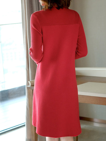 Red Stand Collar Long Sleeve Slit Sweater Dress