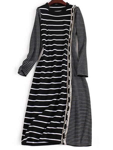 Stripe Stitching O-Neck Long Sleeve Beaded A-Line Dress