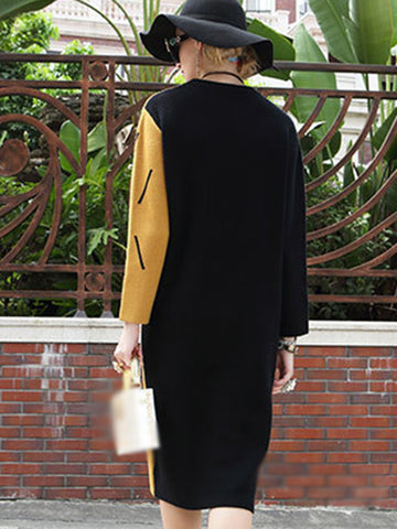 Hit Color O-Neck Stitching Pocket Sweater Dress