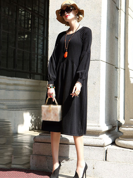 Pure Color O-Neck Long Sleeve Loose Sweater Dress