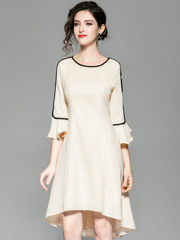 Flare Sleeve O-Neck Beaded Shift Dress