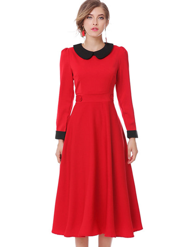 Peter Pan Collar Long Sleeve Hit Color A-Line Dress