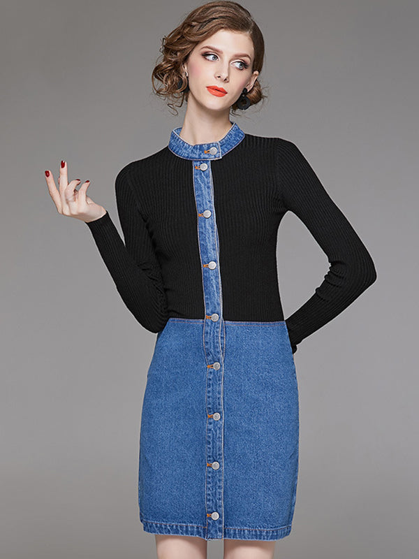 Denim Stitching Stand Collar Long Sleeve Bodycon Dress