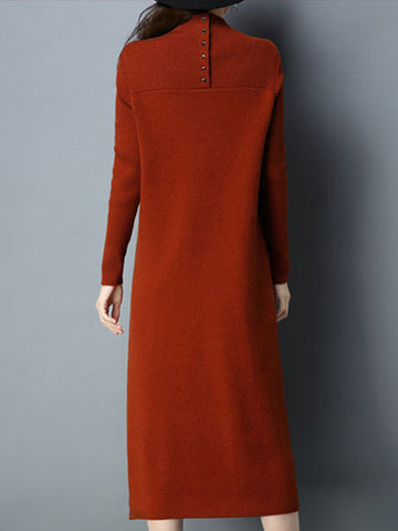 Pure Color Stand Collar Long Sleeve Slit Sweater Dress