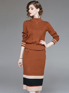 Two Piece Stand Collar Long Sleeve Pleated Bodycon Dress