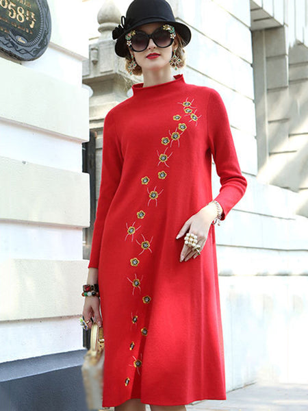 Embroidery Stand Collar Long Sleeve Loose Sweater Dress