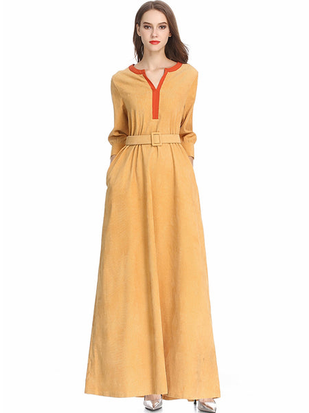 V-Neck 3/4 Sleeve Hit Color Belted Maxi Dress