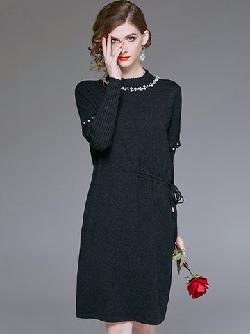 Beaded Stand Collar Long Sleeve Lacing Shift Dress