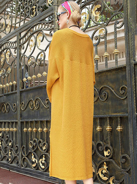 Yellow O-Neck Puff Sleeve Loose Sweater Dress