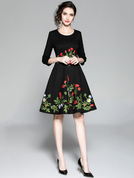 3/4 Sleeve O-Neck Embroidery Fit & Flare Dress