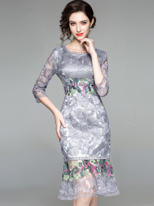 Embroidery O-Neck 3/4 Sleeve Mermaid Bodycon Dress