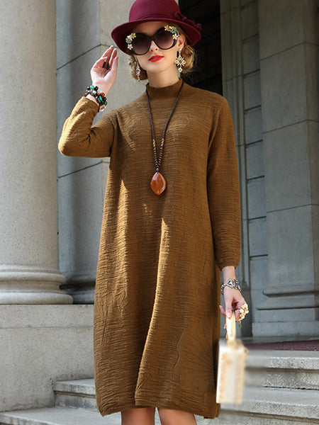 Stand Collar Stand Collar Pure Color Sweater Dress