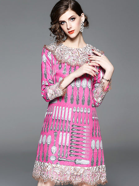 Multicolor O-Neck Long Sleeve Mini Shift Dress