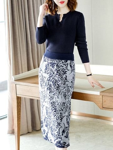 Long Sleeve V-Neck Two Piece Print Sweater Dress
