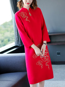 Fashion Vintage Stand Collar Long Sleeve A-Line Dress