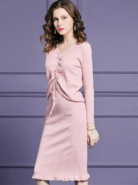 Lacing V-Neck Long Sleeve Pure Color Bodycon Dress