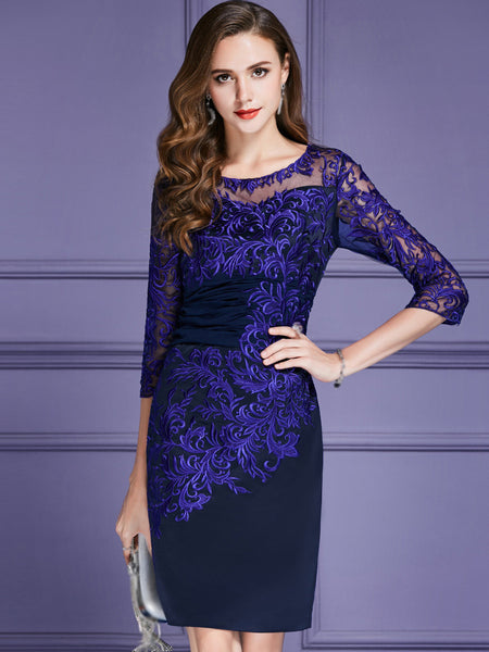 Embroidery Gathered Waist O-Neck 3/4 Sleeve Bodycon Dress