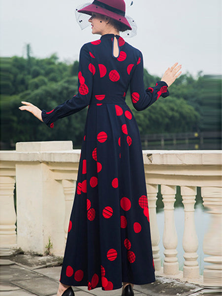 Gathered Waist Stand Collar Long Sleeve Print Maxi Dress