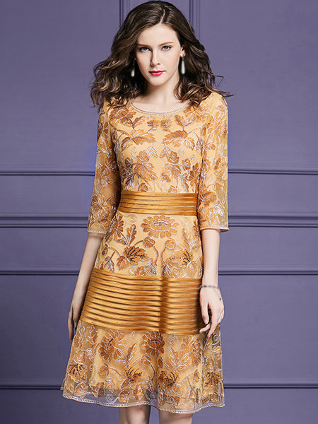 Embroidery O-Neck 3/4 Sleeve Fit & Flare Dress