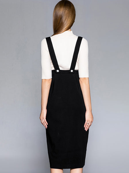 Pure Color Suspender Dress Without Lining