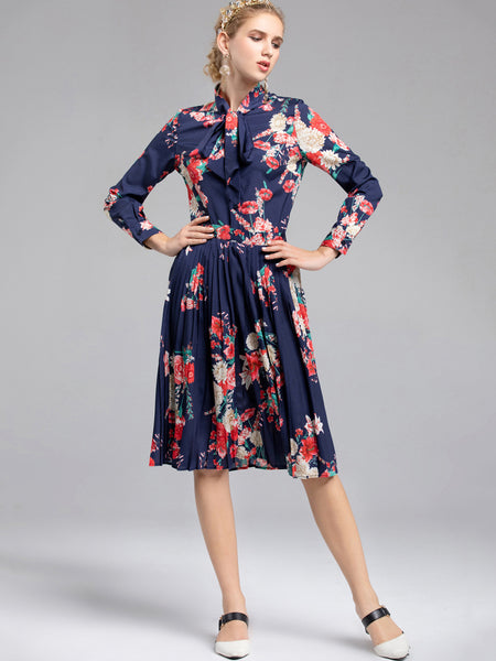 Casual Bowknot Lacing Long Sleeve Two Piece Print Skater Dress