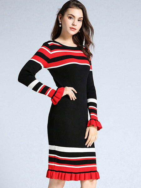 Fashion O-Neck Long Sleeve Stripe Bodycon Dress