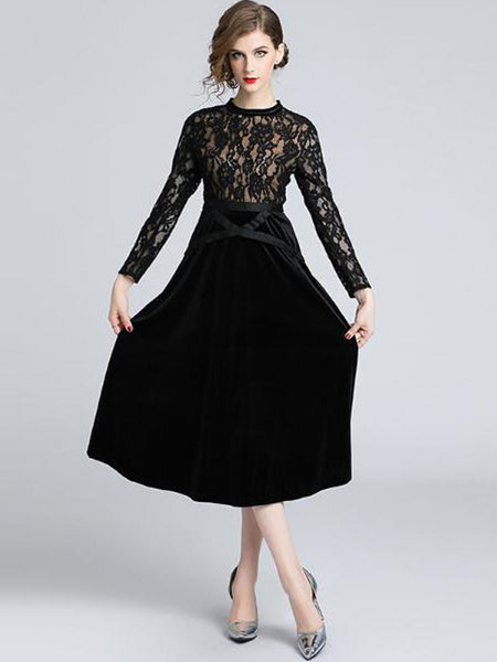 Lace O-Neck Long Sleeve Stitching A-Line Dress