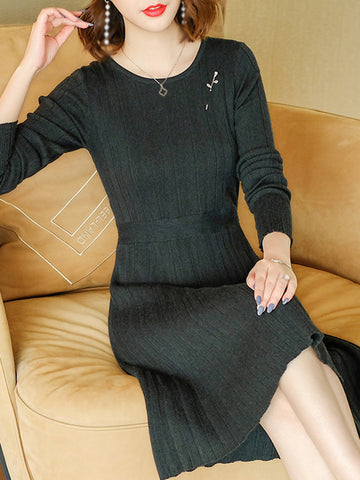 O-Neck Long Sleeve Pure Color Sweater Dress