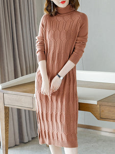 Pure Color High Collar Long Sleeve Slit Sweater Dress