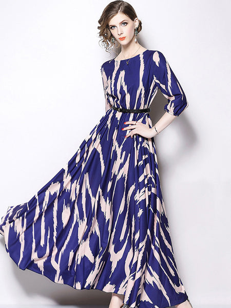Gathered Waist 3/4 Sleeve O-Neck Big Hem Maxi Dress